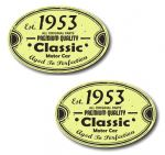 PAIR Distressed Aged Established 1953 Aged To Perfection Oval Design Vinyl Car Sticker 70x45mm Each